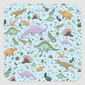 Dinosaurs in Blue Square Sticker