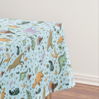 Dinosaurs in Blue Tablecloth