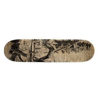 Dinosaurs In Forest Vintage Dictionary Art Skate Deck