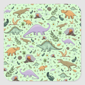 Dinosaurs in Green Square Sticker