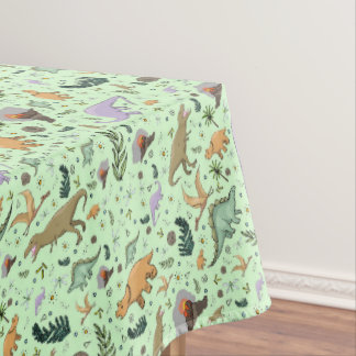Dinosaurs in Green Tablecloth