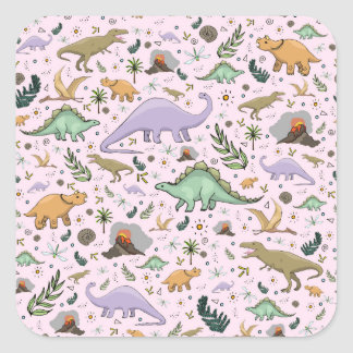 Dinosaurs in Pink Square Sticker
