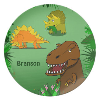 Dinosaurs in the Jungle Personalized Name Dinner Dinner Plate