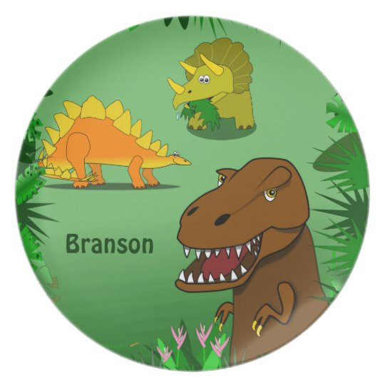 Dinosaurs in the Jungle Personalized Name Dinner Plate