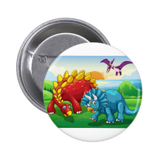 Dinosaurs in the park 2 inch round button