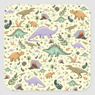 Dinosaurs in Yellow Square Sticker