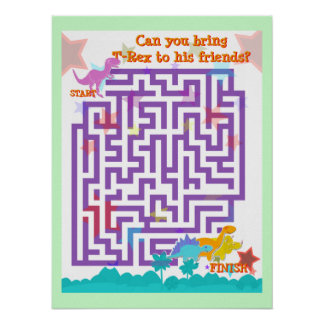 Dinosaurs Labyrinth Puzzle Game Poster