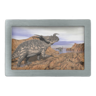Dinosaurs landscape - 3D render Belt Buckles