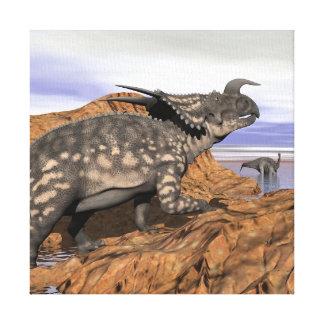 Dinosaurs landscape - 3D render Canvas Print