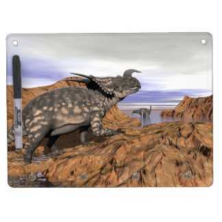 Dinosaurs landscape - 3D render Dry Erase Board With Keychain Holder