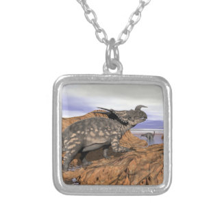 Dinosaurs landscape - 3D render Silver Plated Necklace