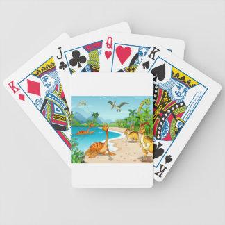 Dinosaurs living on the beach poker deck