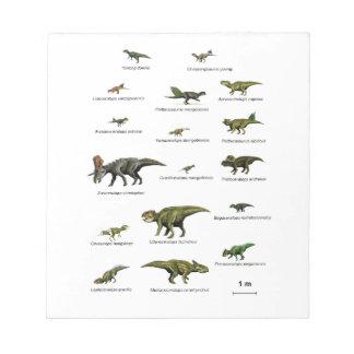 Dinosaurs names notepad