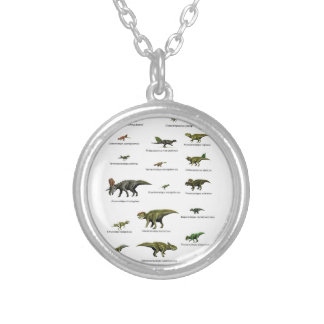 Dinosaurs names silver plated necklace