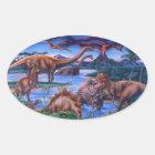 Dinosaurs Oval Sticker