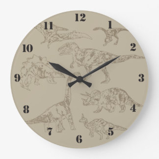Dinosaurs realistic vintage drawings large clock