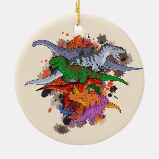 Dinosaurs Round Ceramic Ornament