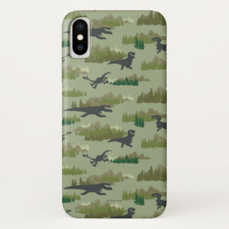 Dinosaurs Running Camo Pattern iPhone X Case