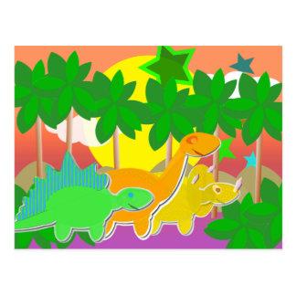Dinosaurs Sunset Postcard