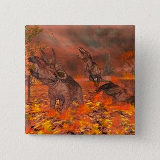 Dinosaurs, tyrannosaurus and triceratops, exctinct 2 inch square button