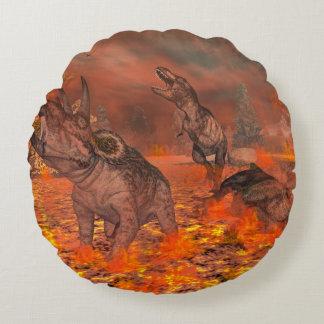 Dinosaurs, tyrannosaurus and triceratops, exctinct round pillow