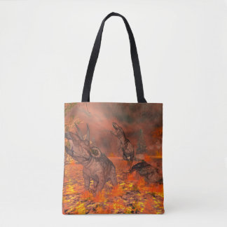 Dinosaurs, tyrannosaurus and triceratops, exctinct tote bag