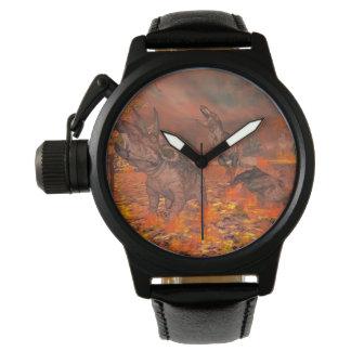 Dinosaurs, tyrannosaurus and triceratops, exctinct wrist watches
