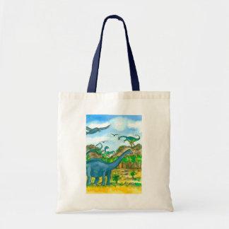 Dinosaurs Watercolor Illustration Tote Bag