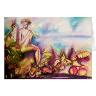 DIONYSUS ,Playing Flute with Sea shells and Fruits Card