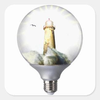 Diorama Light bulb Lighthouse Square Sticker