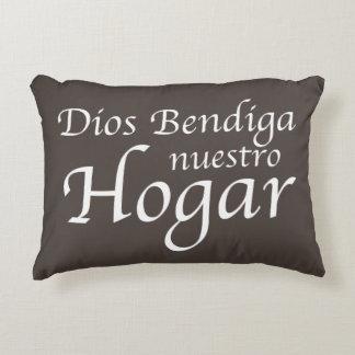 Dios Bendiga Nuestro Hogar: White Decorative Pillow