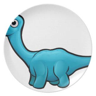 Diplodocus Dinosaur Cartoon Character Plate