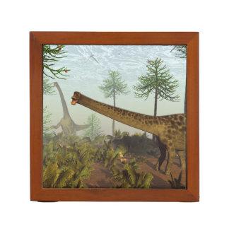 Diplodocus dinosaurs among araucaria trees - 3D re Desk Organizer