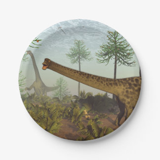 Diplodocus dinosaurs among araucaria trees - 3D re Paper Plate