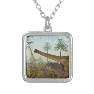 Diplodocus dinosaurs among araucaria trees - 3D re Silver Plated Necklace