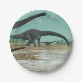 Diplodocus dinosaurs herd - 3D render 7 Inch Paper Plate