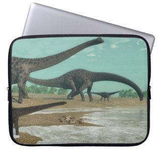 Diplodocus dinosaurs herd - 3D render Laptop Sleeve