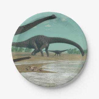 Diplodocus dinosaurs herd - 3D render Paper Plate