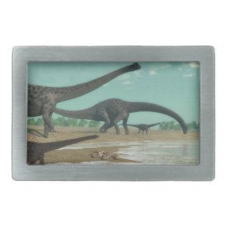Diplodocus dinosaurs herd - 3D render Rectangular Belt Buckles