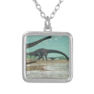 Diplodocus dinosaurs herd - 3D render Silver Plated Necklace