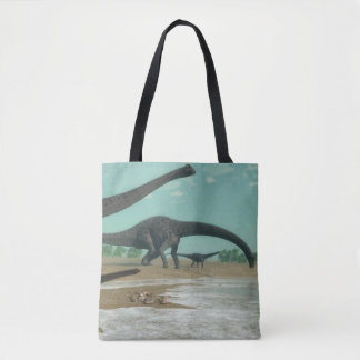Diplodocus dinosaurs herd - 3D render Tote Bag