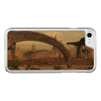 Diplodocus dinosaurs herd going to drink carved iPhone 8/7 case