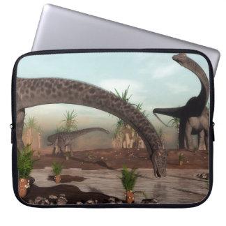 Diplodocus dinosaurs herd going to drink laptop sleeve