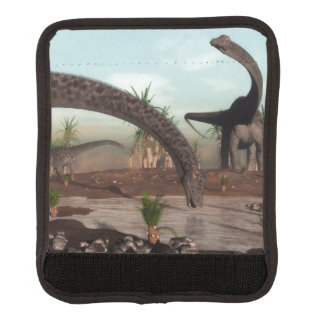 Diplodocus dinosaurs herd going to drink luggage handle wrap