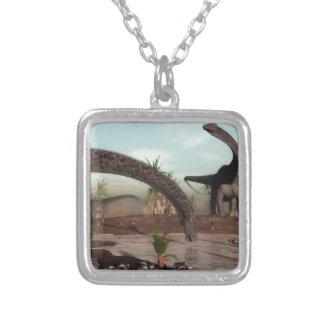 Diplodocus dinosaurs herd going to drink silver plated necklace