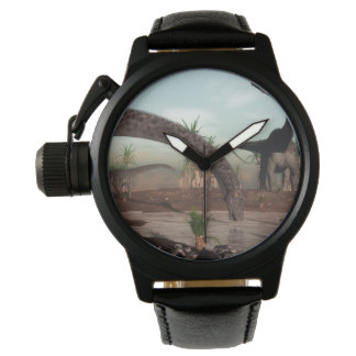 Diplodocus dinosaurs herd going to drink wristwatches