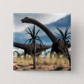Diplodocus dinosaurs herd in the desert 2 inch square button