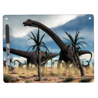 Diplodocus dinosaurs herd in the desert dry erase whiteboard
