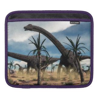 Diplodocus dinosaurs herd in the desert iPad sleeve