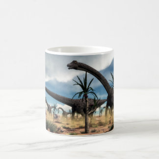 Diplodocus herd in the desert coffee mug